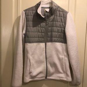White fleece jacket size medium silver detail